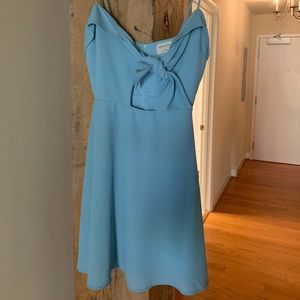 Crystal blue/baby blue front tie summer dress